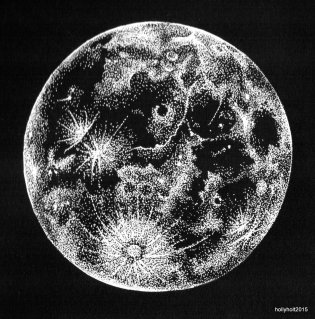pointilist drawing of the moon in white ink on black paper by holly holt