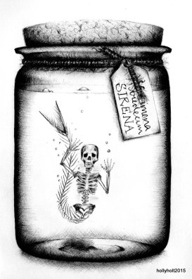 illustration of a mermaid skeleton in a jar in ballpoint pen by holly holt