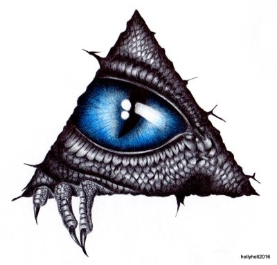 ballpoint pen blue dragon eye drawing by holly holt