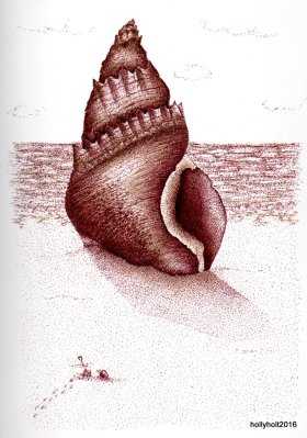 seashell pointilist drawing by holly holt