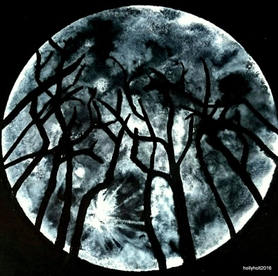 acrylic ink moon illustration by holly holt